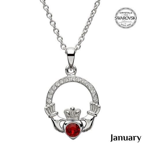 Claddagh Birthstone Necklace With Swarovski Crystals (January)