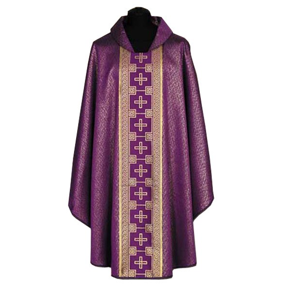 Purple Chasuble with Gold Crosses Orphrey