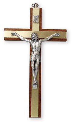 Mahogany Crucifix with Brass Inlay (15cm)