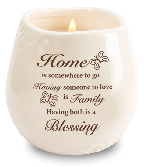 Stoneware Jar with Soy Wax Candle and message for Home Blessing