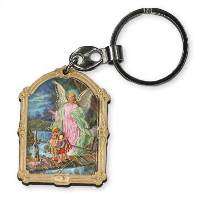 7430 Guardian Angel Wood Keyring