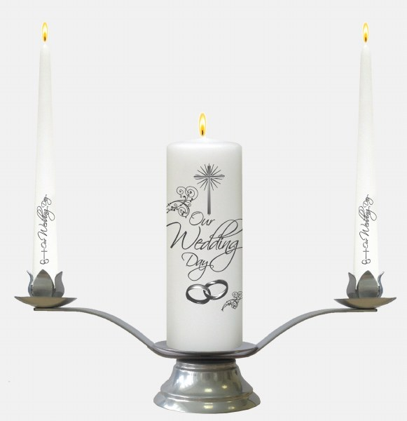 White Rings and Cross Wedding Candle Boxed Set