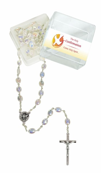 White Pearl Confirmation Rosary Beads