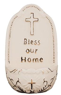 God Bless Our Home Cream Porecelain Font