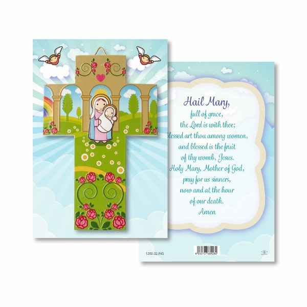 Hail Mary Madonna and Child  Cross 15cm