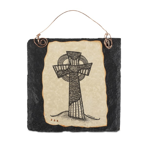 High Cross Doodle Art on Slate with copper wire ha