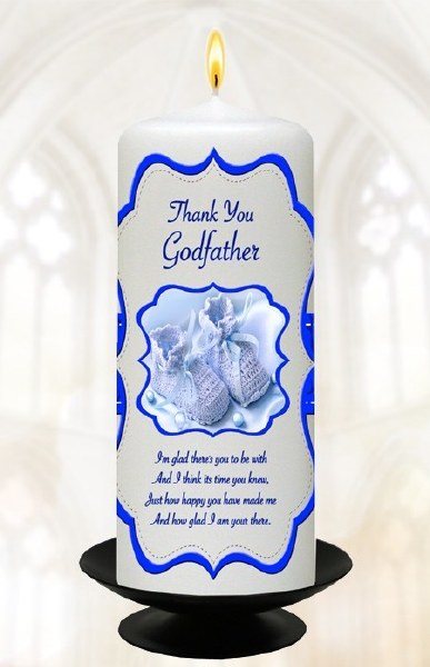 Blue Scroll and Booties Baptism Candle