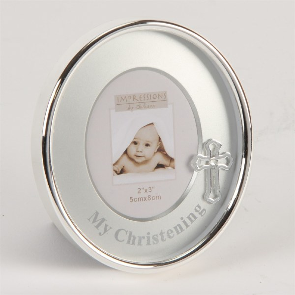 "Silverplated Oval Frame Mount/Icon 2"" x 3"" - Christening"