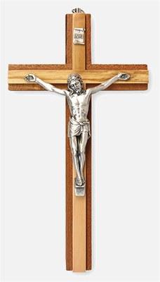 Two Tone Mahogany Crucifix (20cm)