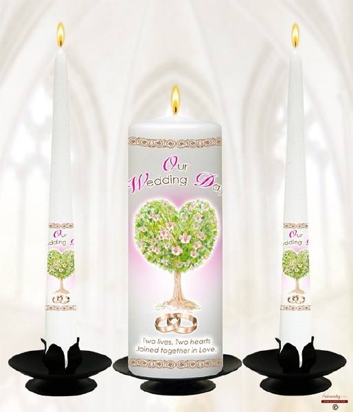 Heart Tree Gold Rings and Pink Flowers Wedding Candle