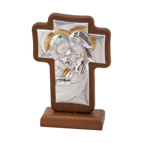 Silver Holy Family with Gold Trim Cross (9 x 12cm)