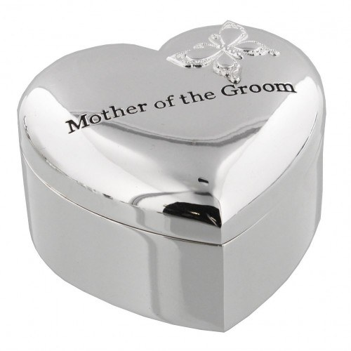Amore Silver Plated Heart Trinket Box - 'Mother of the Groom'