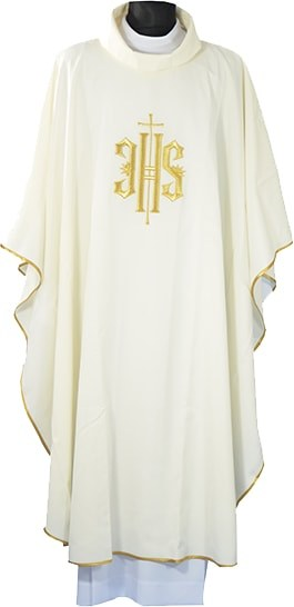 Cream  Chasuble Embroidered Covex IHS Symbol