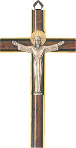 Wooden Crucifix with Silver Resin Corpus (20cm)
