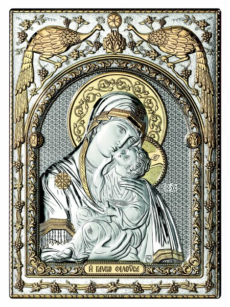 Silver and Gold Madonna and Child icon (30 x 25 cm)