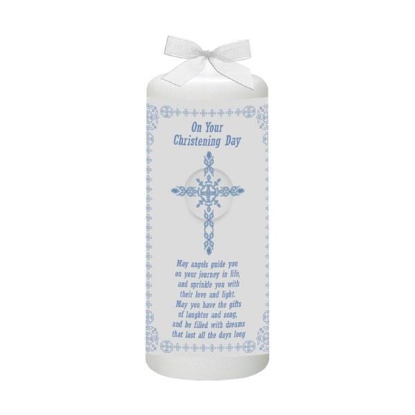 Blue Ornate Cross Christening candle 15cm