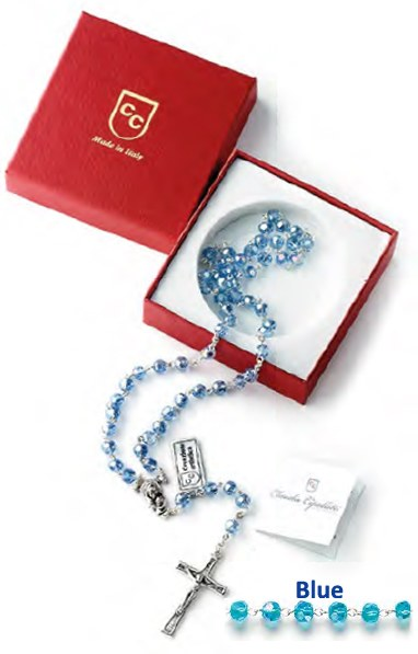 Blue Crystal Rosary Beads Gift Boxed