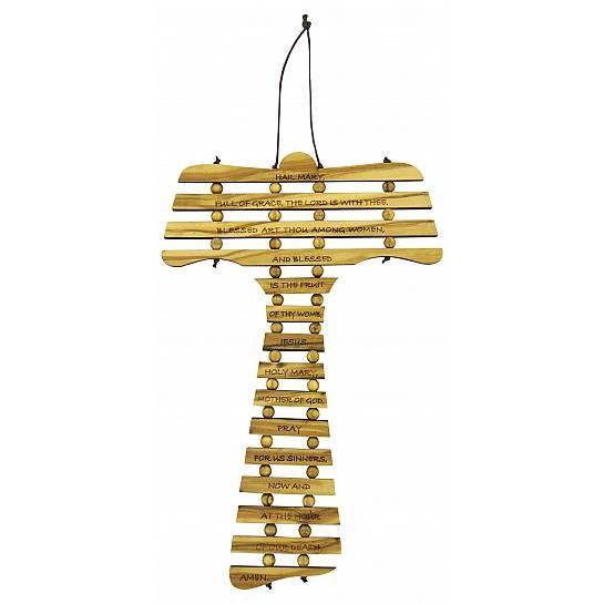 Hail Mary Olive Wood Cross (17cm)