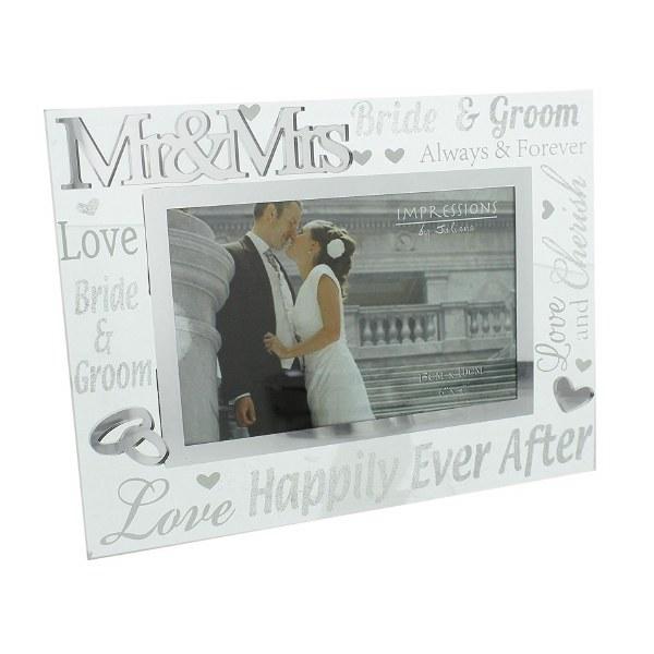 "Juliana 3D Words Mr & Mrs 6""x4"" Glass Mirror Wedding Day Photo Frame"