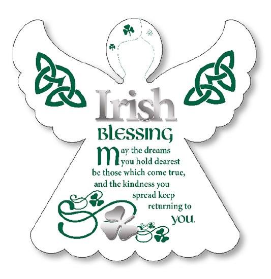 Irish Blessing Wooden Angel Plaque