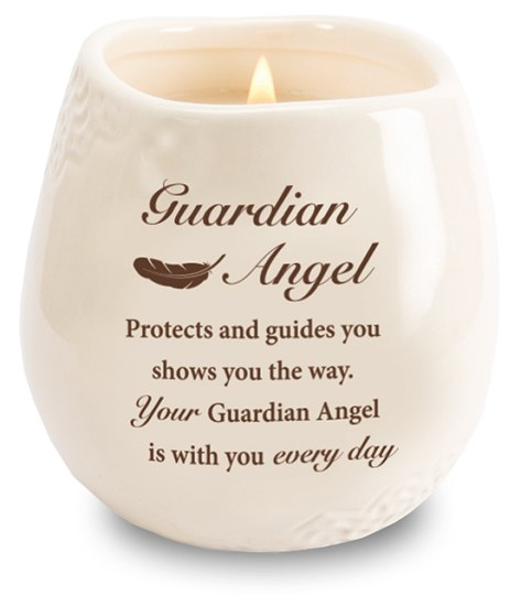 Stoneware Jar with Soy Wax Candle and  Guardian Angel message