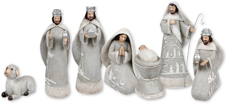 Grey and White Decorated Nativity set 20cm