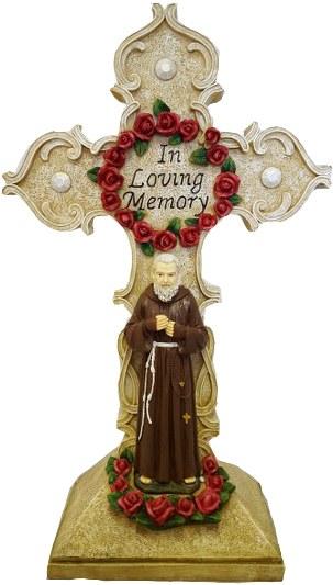 Padre Pio with Cross (45cm)