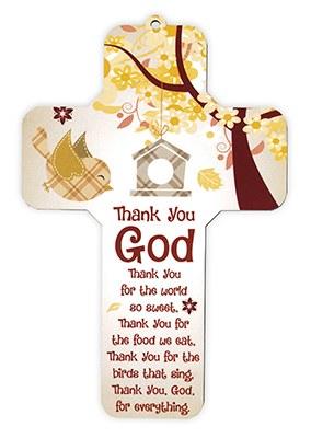 Wooden Cross Thanks You God (18cm)