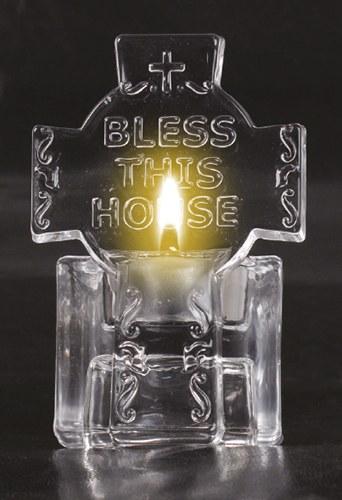Glass Cross Tealight Holder