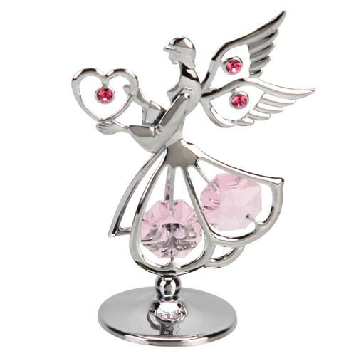 Sacred Angel with Heart and Crystals
