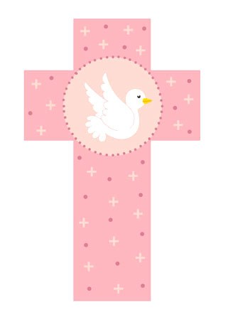 Pink Cross with Dove (12cm)