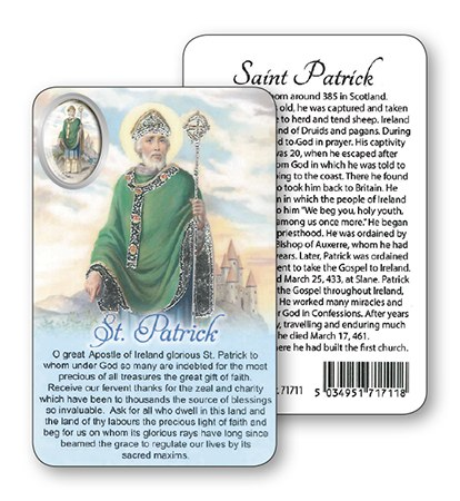 St Patrick Laminated Prayer Card