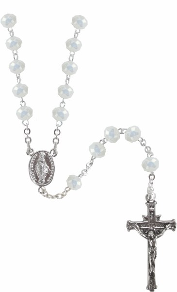 White Crystal Sterling Silver Rosary Bead