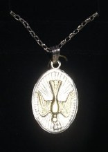Oval Sterling Silver Confirmation Medal with Gold Dove with chain