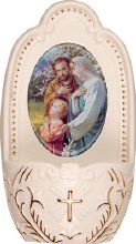 Porcelain Holy Family Holy Water Font