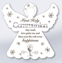 First Holy Communion wooden angel plaque