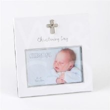 White and Silver Christening Photo Frame
