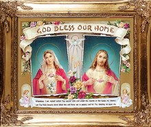 Double Sacred Heart House Blessing with Gold Frame (25 x 30cm)