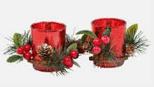 Red Double Glass Candleholder Set