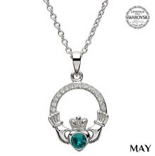 Claddagh Birthstone Necklace With Swarovski Crystals (May)