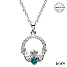 Claddagh Birthstone Necklace With Swarovski Crystals (May)