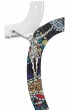 Italian Made Mosaic Mattiolo Glass Crucifix with Silver Corpus (47cm)