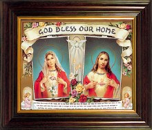 Double Heart 'God Bless Our Home' Framed Picture (35 x 45cm)