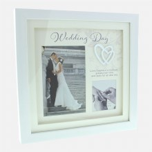 White Wedding Day Double Frame with Hearts