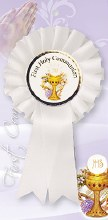 White First Holy Communion Rosette with Picture of Chalice