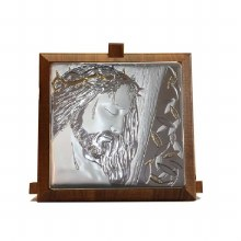 Silver Christ with Thorns with Gold Trim (11 x 11cm)
