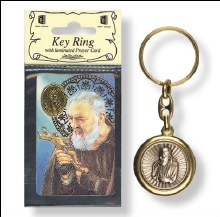 St Pio Keyring with Laminated Leaflet