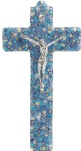 Specchio Blue Murano Glass Crucifix with Silver Corpus (34cm)