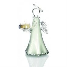 White Glass Angel candleholder 20cm