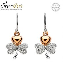Sterling Silver Shamrock Swarovski Crystal Earrings